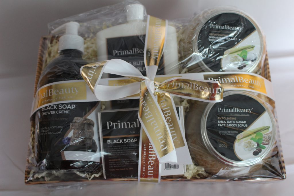 Gifts for naturalistas: Primal Beauty pamper and glow basket