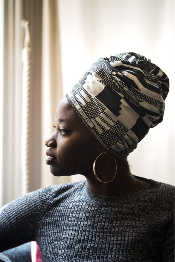 Knots UK headwrap for black hair during pandemic